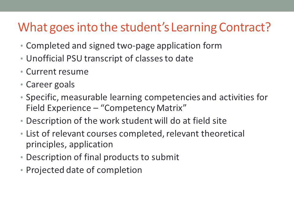 What goes into the student's Learning Contract