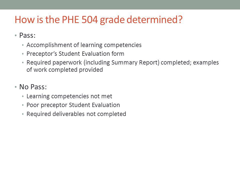 How is the PHE 504 grade determined