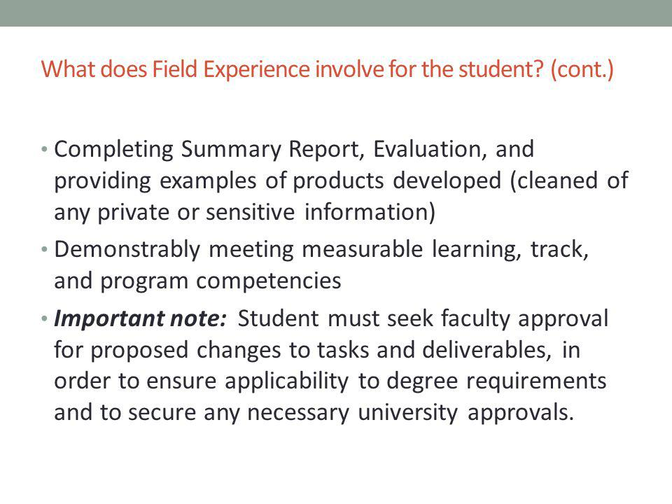 field experience report Fieldwork in social work education and training:  taught in the classroom and field- based education involving  as is fieldwork experience.
