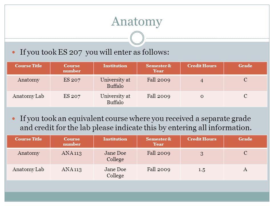 Anatomy If you took ES 207 you will enter as follows: