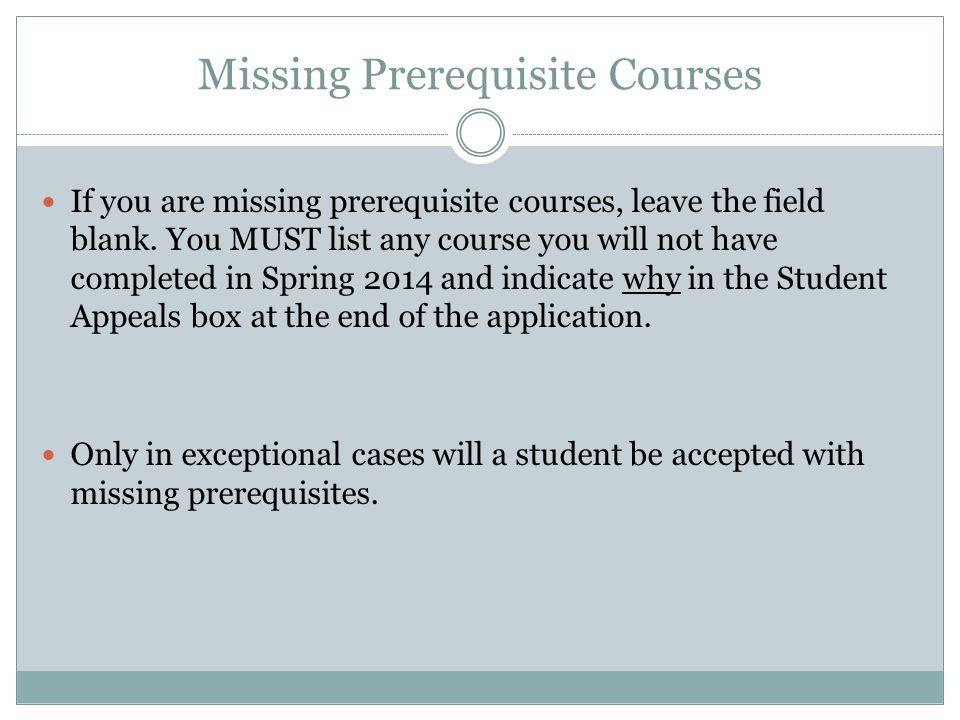 Missing Prerequisite Courses