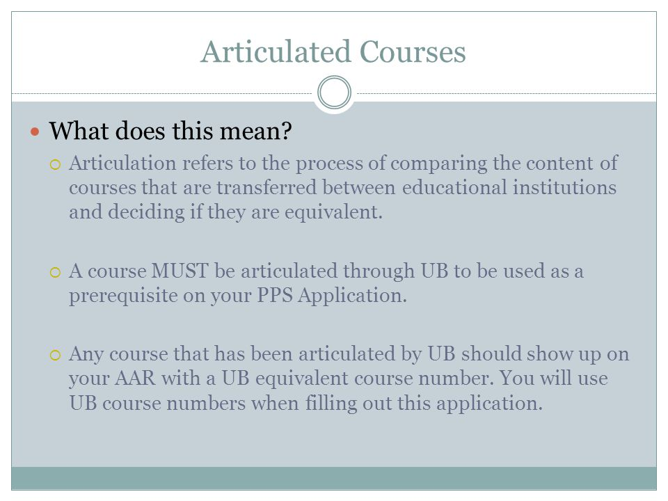 Articulated Courses What does this mean