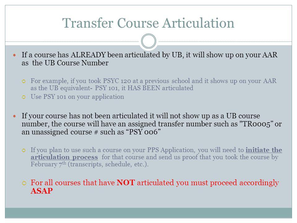 Transfer Course Articulation