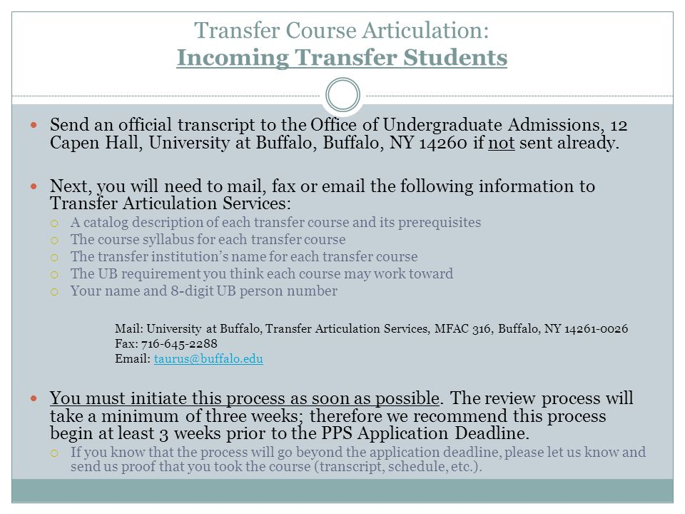 Transfer Course Articulation: Incoming Transfer Students