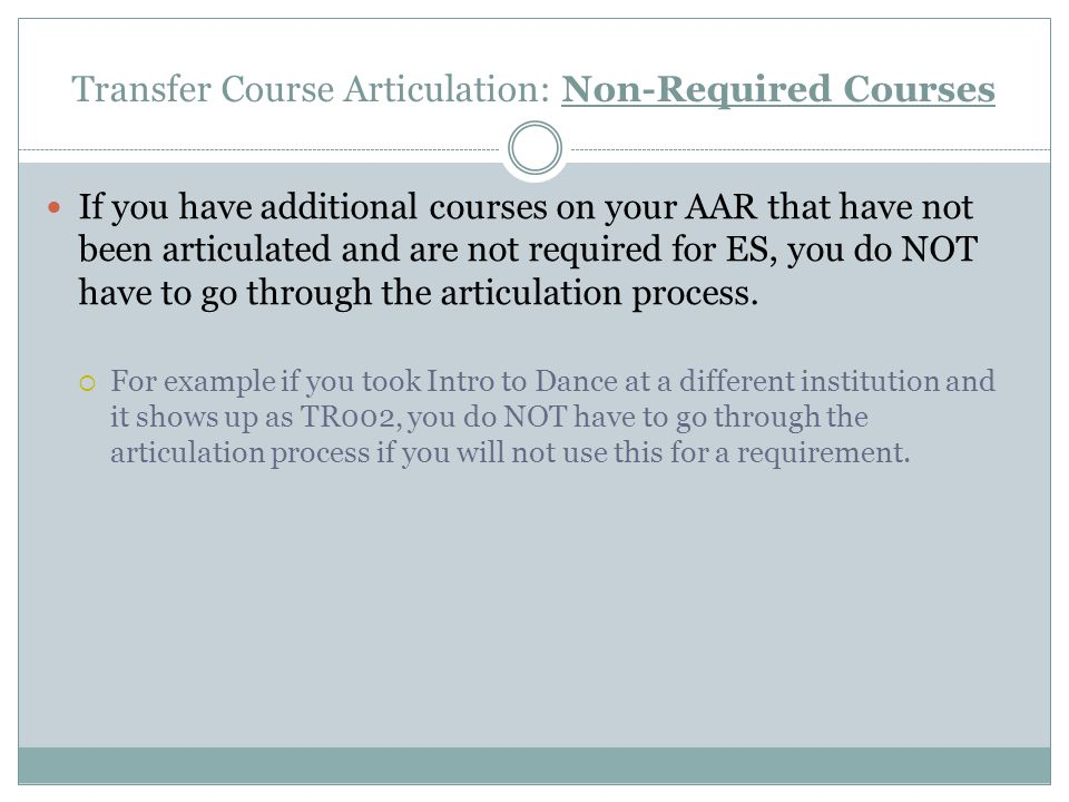 Transfer Course Articulation: Non-Required Courses