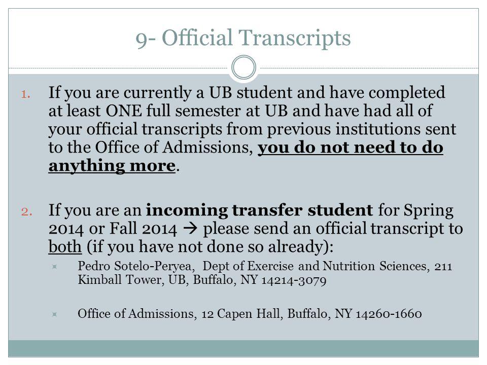 9- Official Transcripts