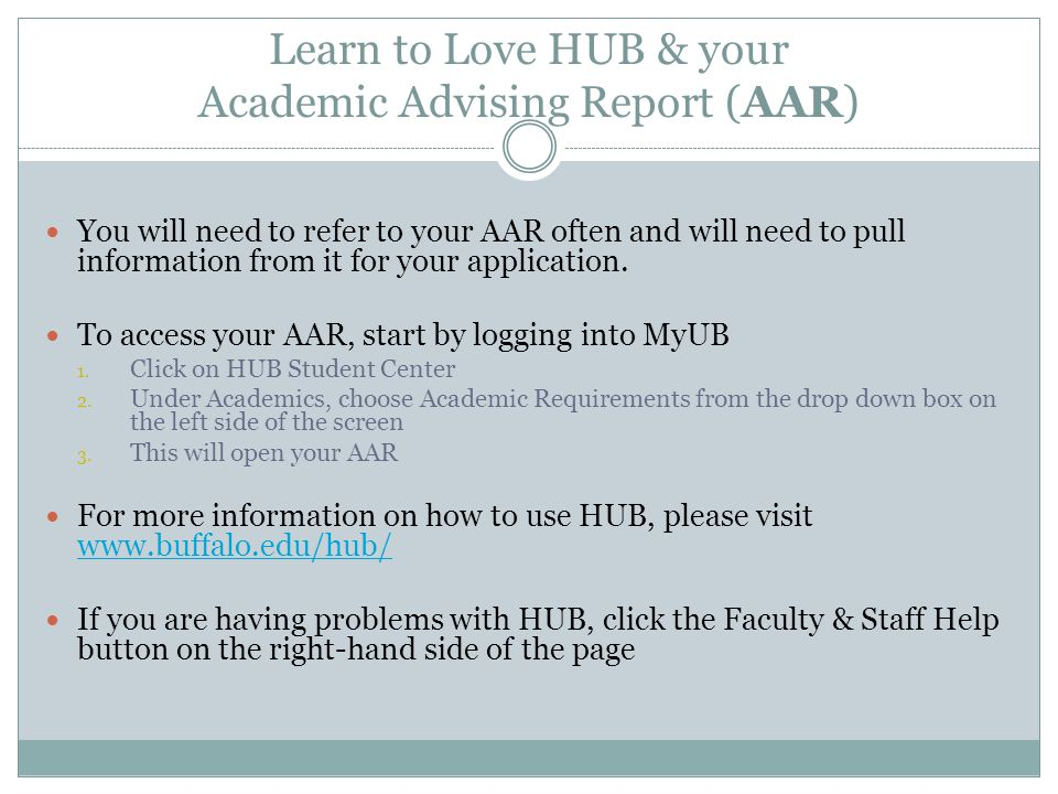 Learn to Love HUB & your Academic Advising Report (AAR)