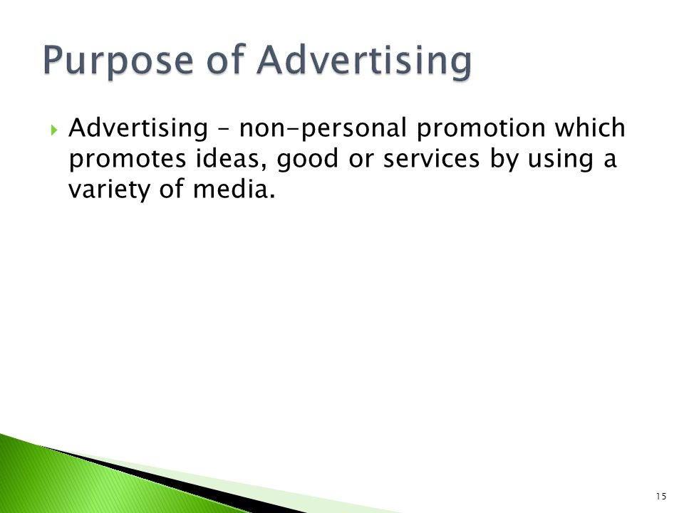 Purpose of Advertising