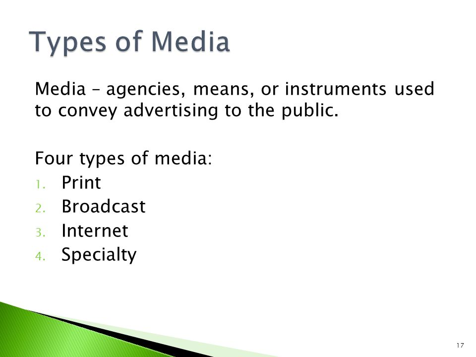 Types of Media Media – agencies, means, or instruments used to convey advertising to the public. Four types of media: