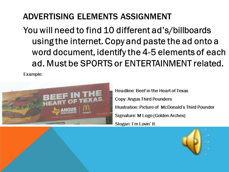 Advertising elements assignment