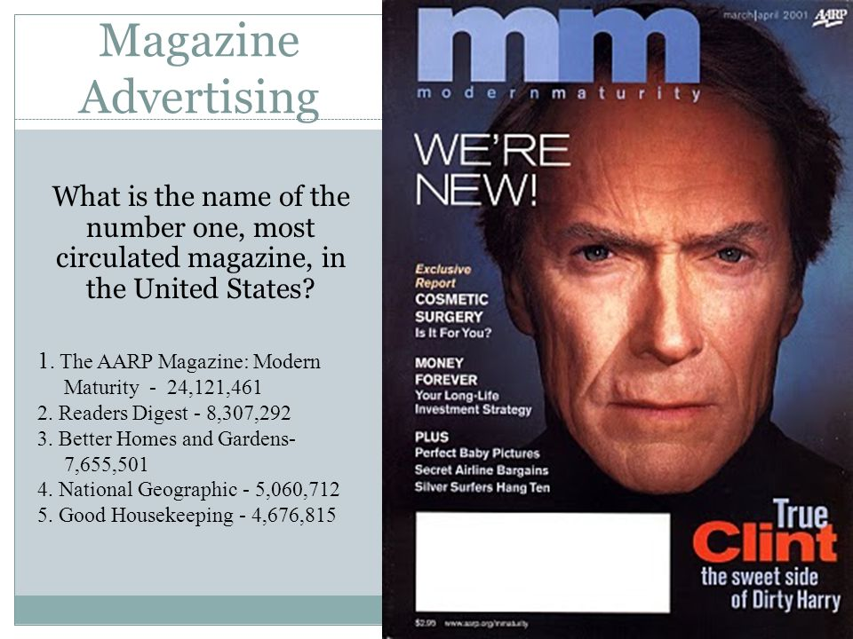 Magazine Advertising What is the name of the number one, most circulated magazine, in the United States