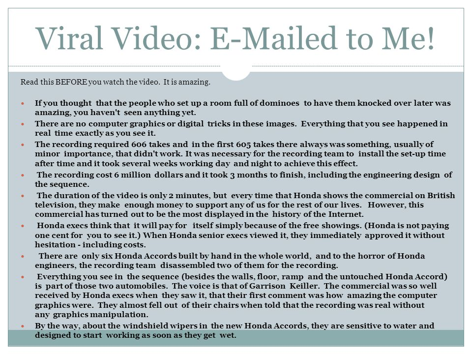 Viral Video: E-Mailed to Me!