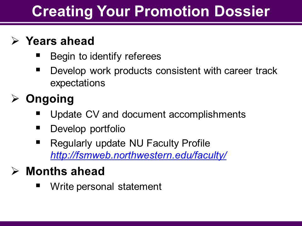 Creating Your Promotion Dossier