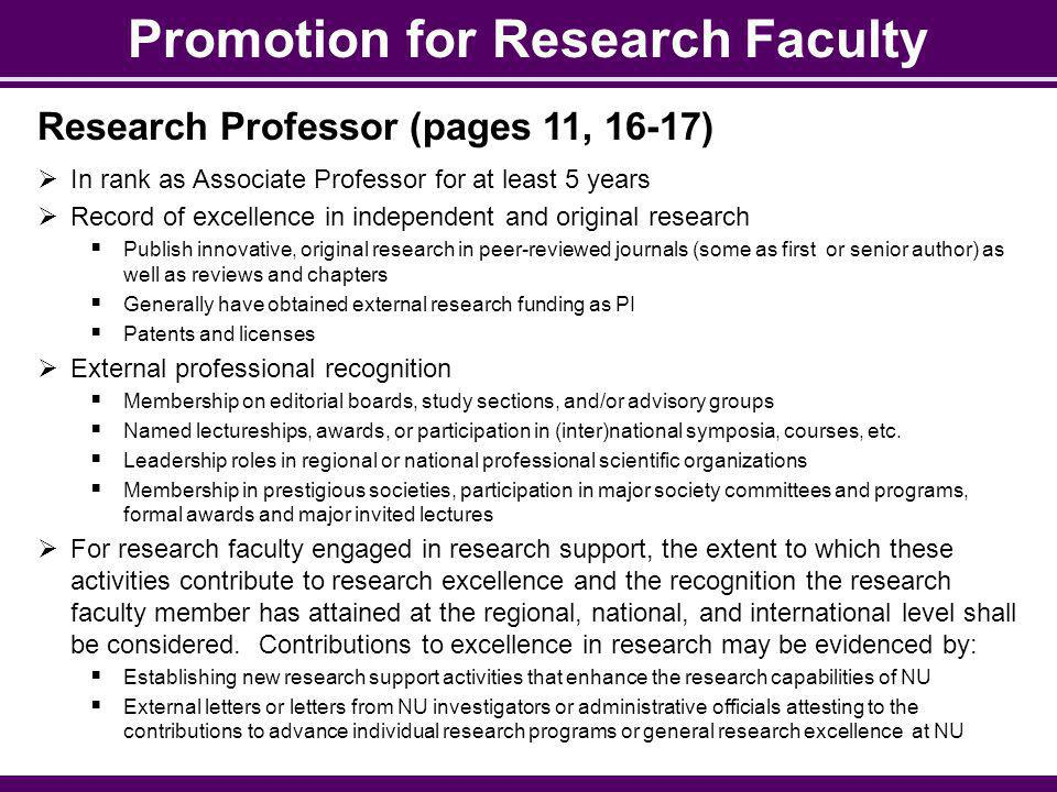 Promotion for Research Faculty