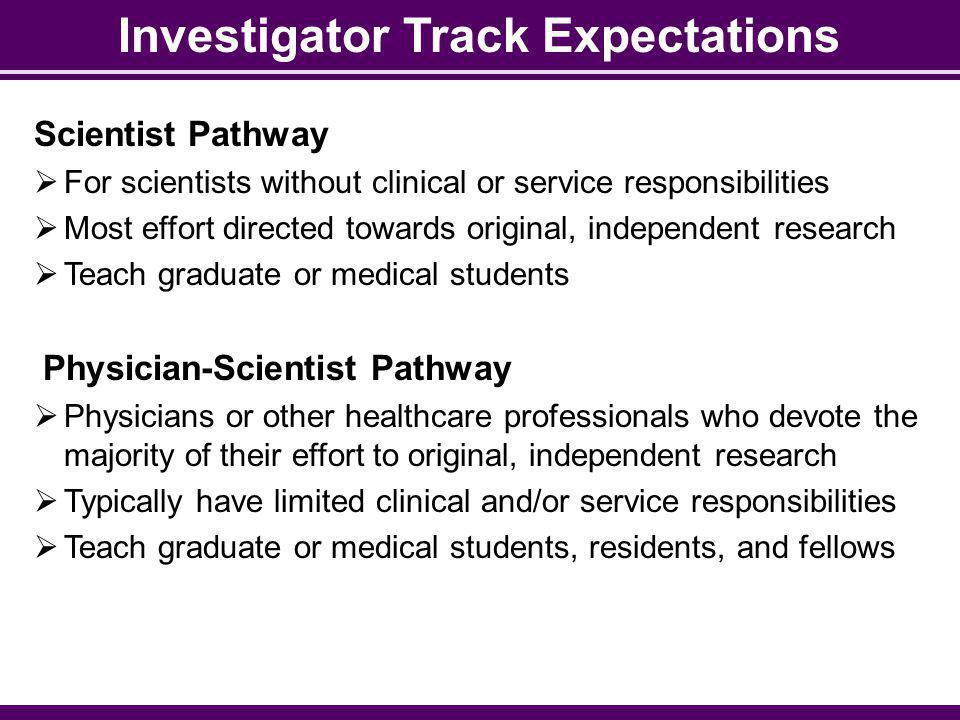 Investigator Track Expectations