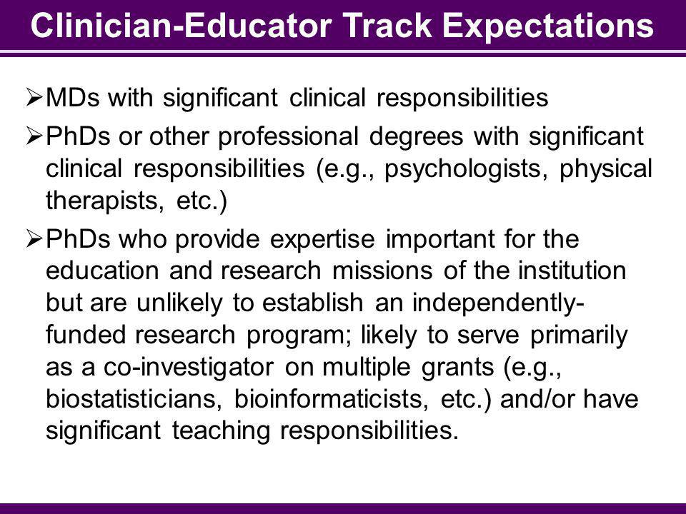 Clinician-Educator Track Expectations