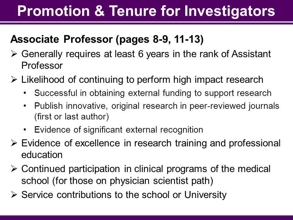 Promotion & Tenure for Investigators
