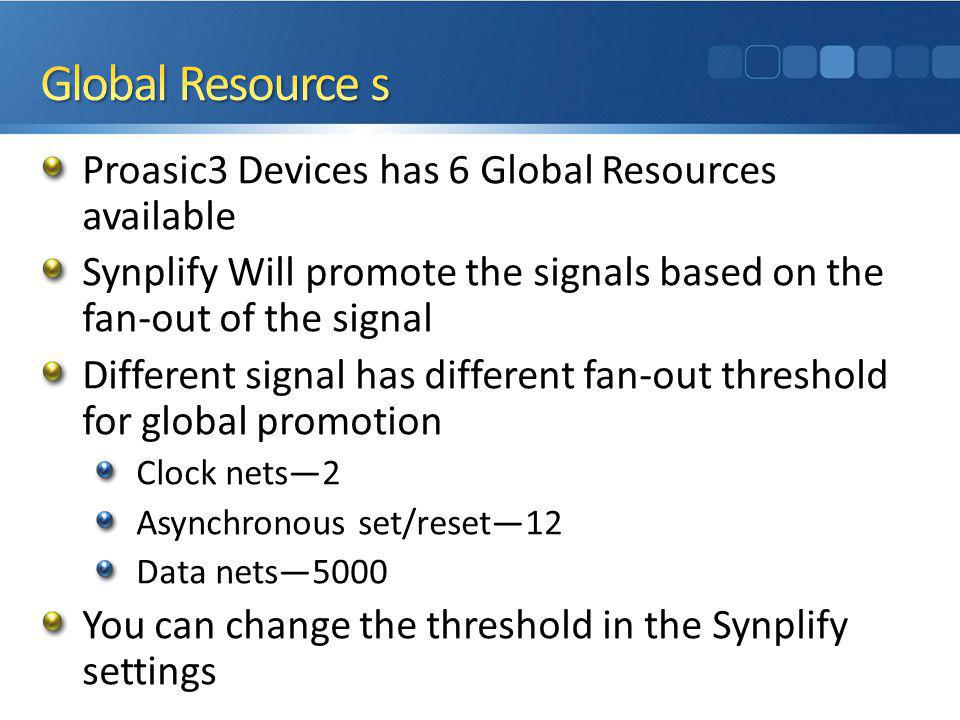 Global Resource s Proasic3 Devices has 6 Global Resources available