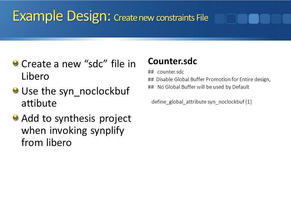 Example Design: Create new constraints File