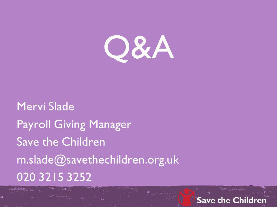 Q&A Mervi Slade Payroll Giving Manager Save the Children