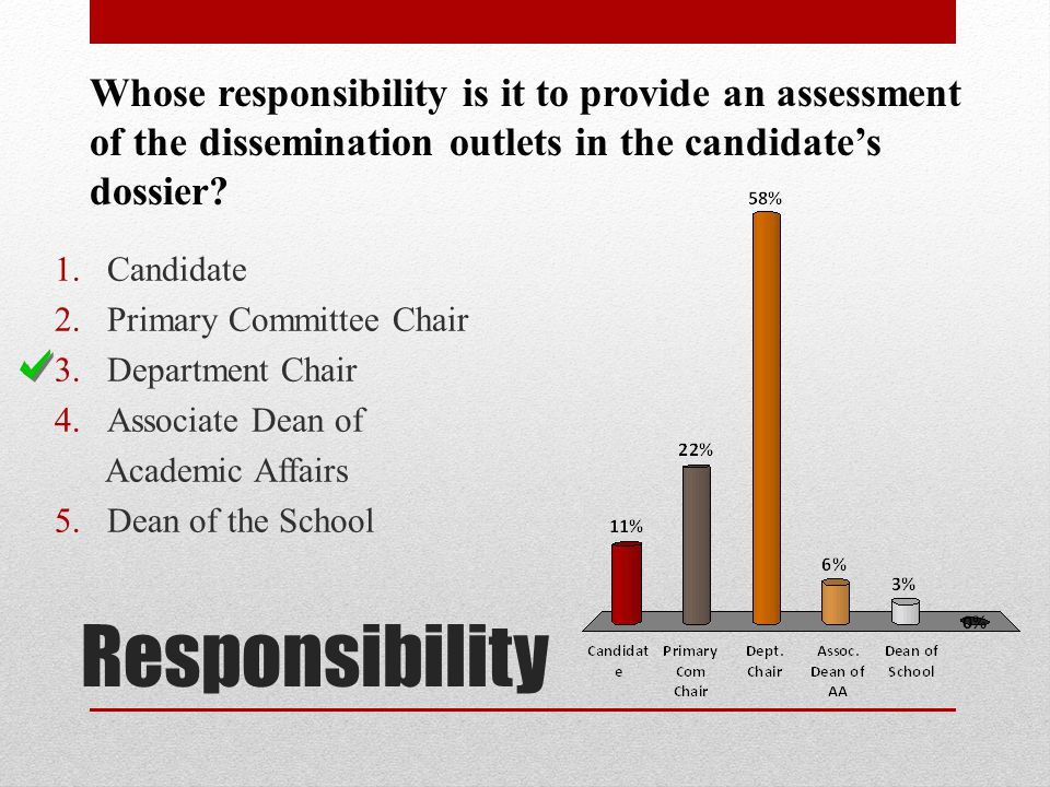 Whose responsibility is it to provide an assessment of the dissemination outlets in the candidate's dossier