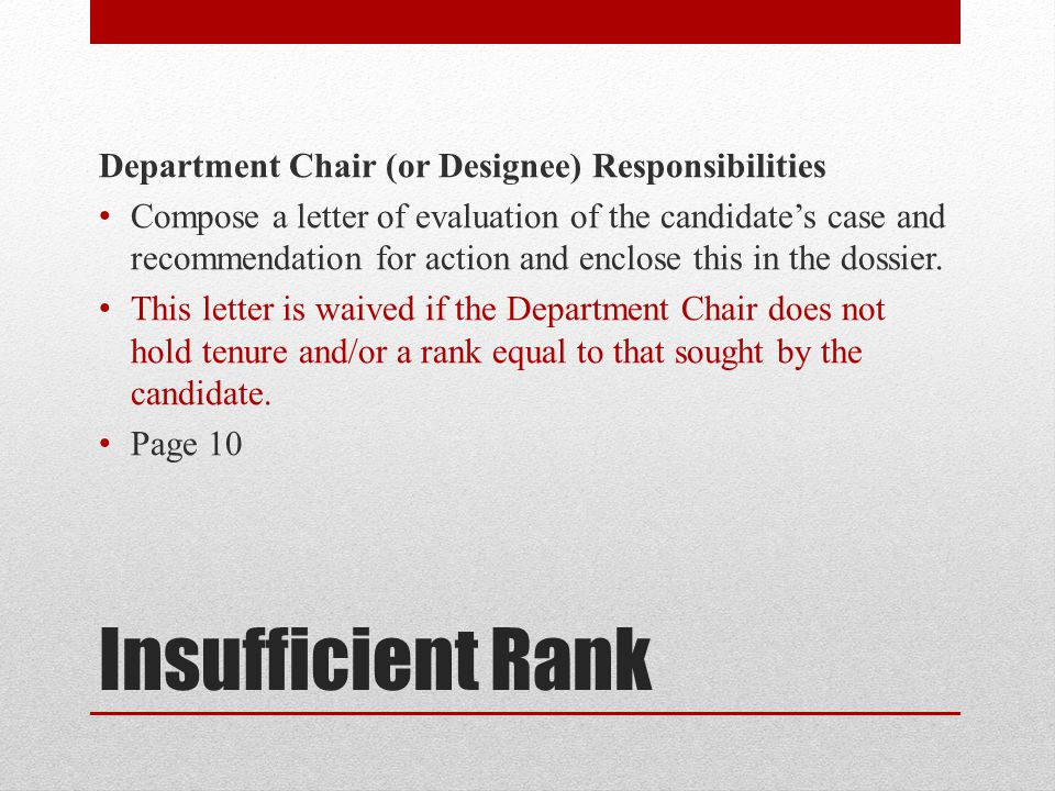 Insufficient Rank Department Chair (or Designee) Responsibilities