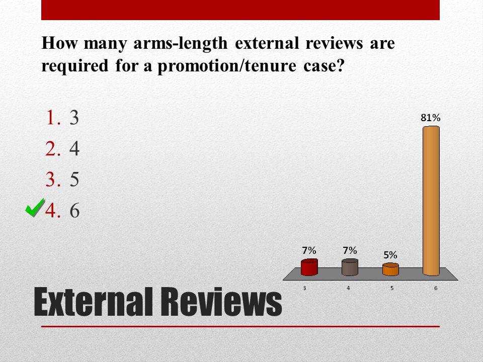 How many arms-length external reviews are required for a promotion/tenure case