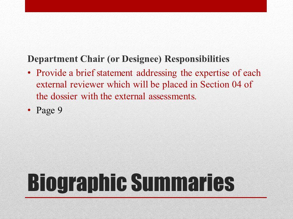 Biographic Summaries Department Chair (or Designee) Responsibilities