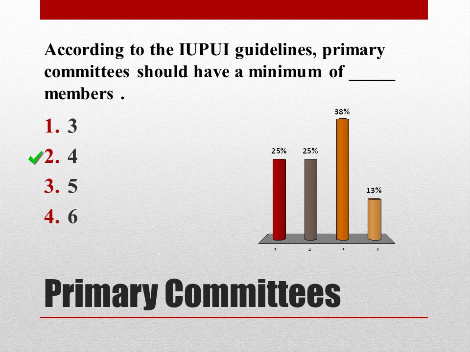 According to the IUPUI guidelines, primary committees should have a minimum of _____ members .