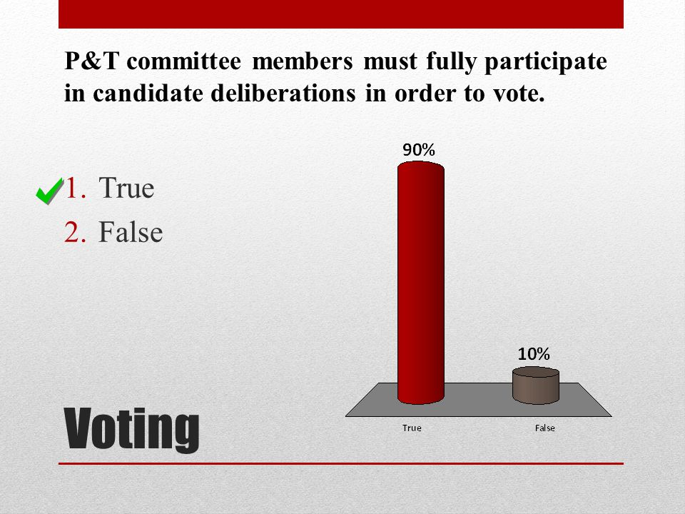P&T committee members must fully participate in candidate deliberations in order to vote.