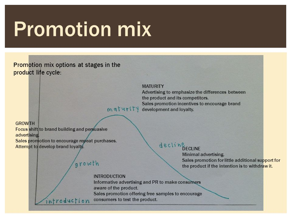 Promotion mix Promotion mix options at stages in the product life cycle: MATURITY.