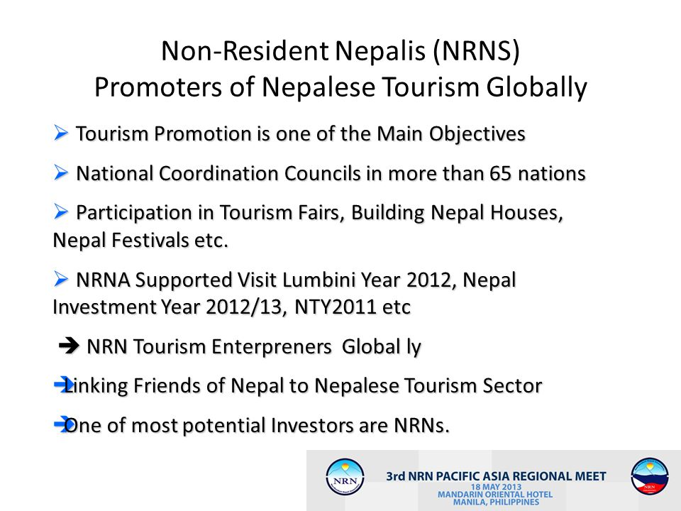 Non-Resident Nepalis (NRNS) Promoters of Nepalese Tourism Globally
