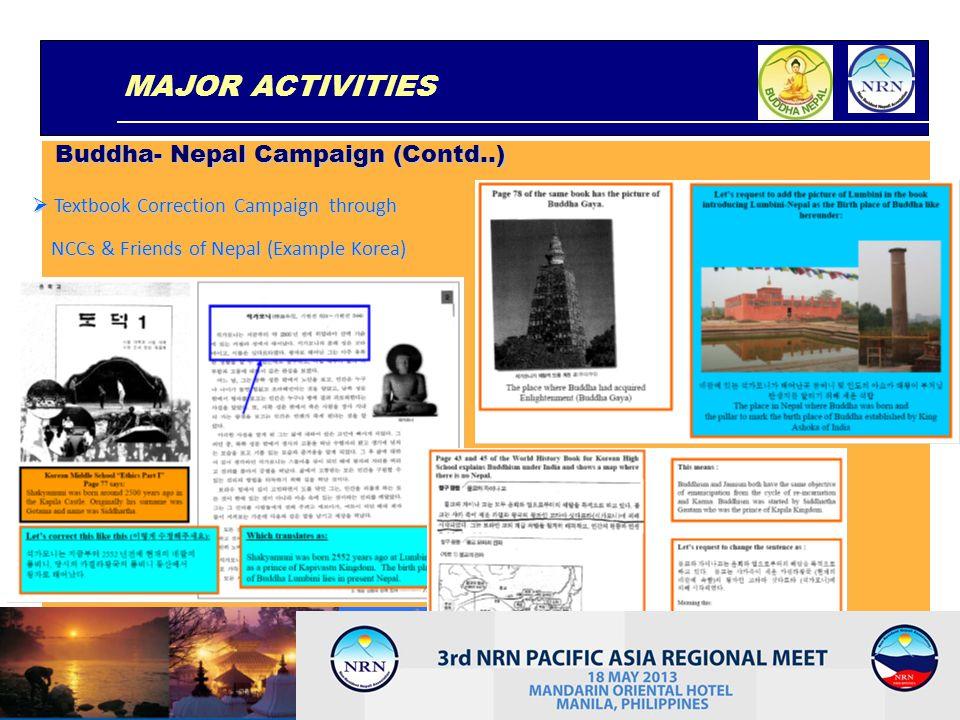 MAJOR ACTIVITIES Buddha- Nepal Campaign (Contd..)
