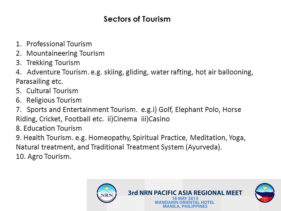 Sectors of Tourism Professional Tourism. Mountaineering Tourism. Trekking Tourism.