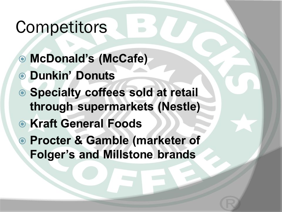 Competitors McDonald's (McCafe) Dunkin' Donuts