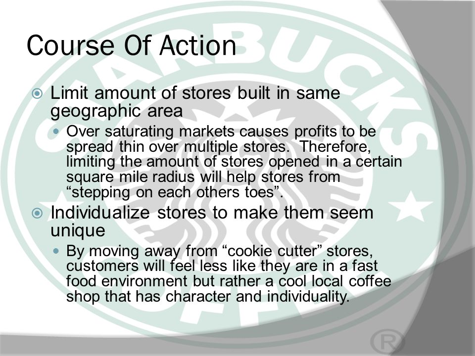 Course Of Action Limit amount of stores built in same geographic area