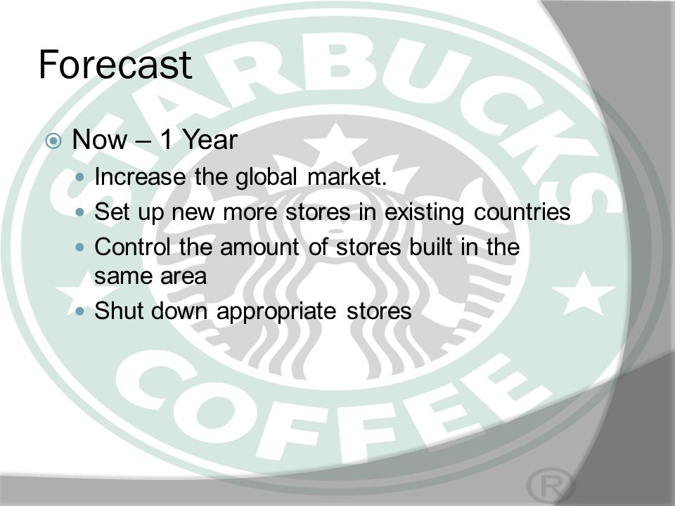 Forecast Now – 1 Year Increase the global market.