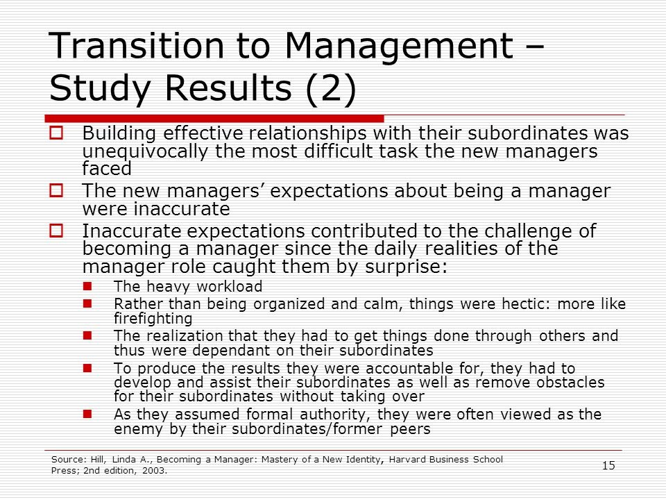 Transition to Management – Study Results (2)