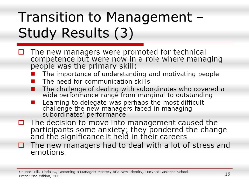 Transition to Management – Study Results (3)