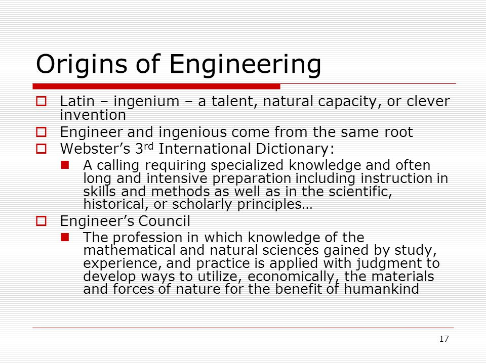 Origins of Engineering