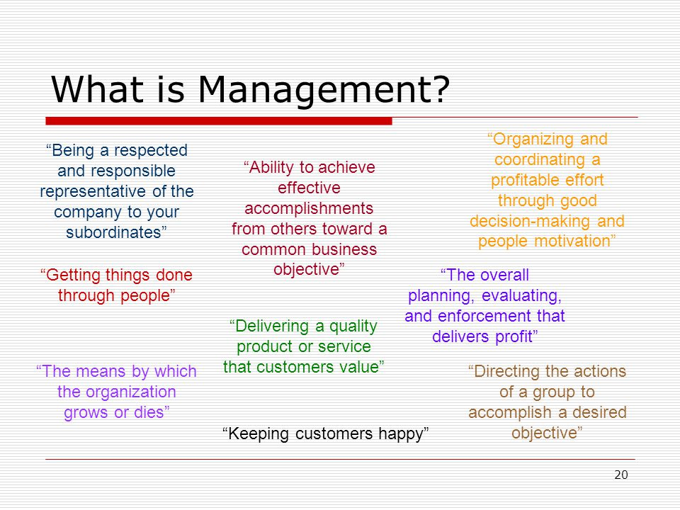 What is Management Organizing and coordinating a profitable effort through good decision-making and people motivation
