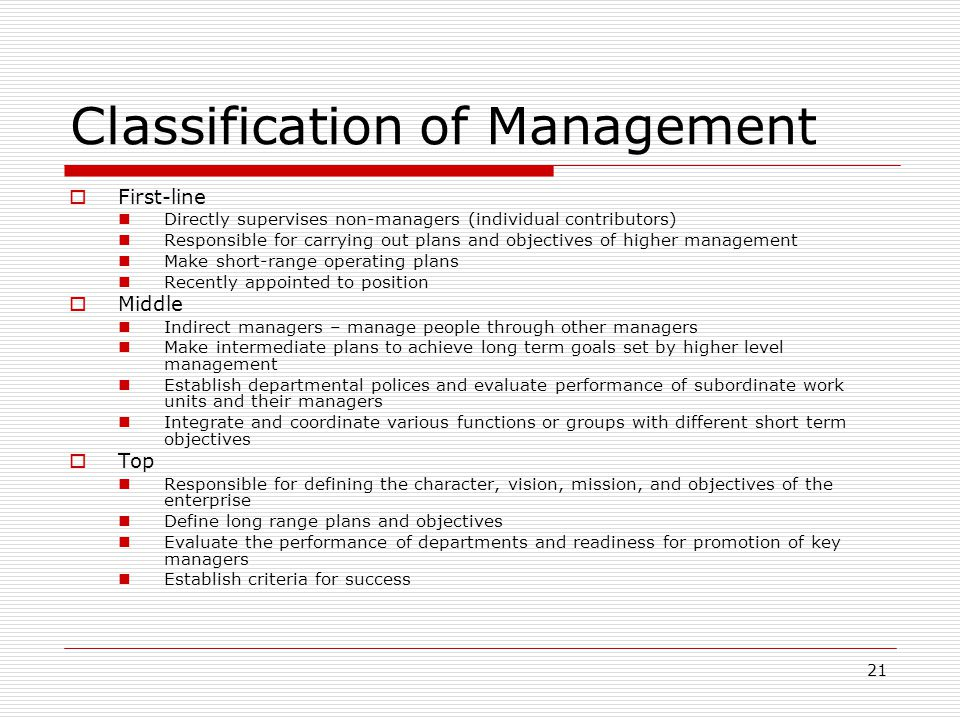 Classification of Management