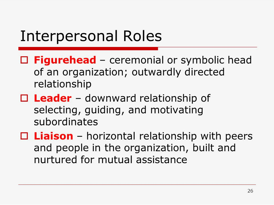 Interpersonal Roles Figurehead – ceremonial or symbolic head of an organization; outwardly directed relationship.