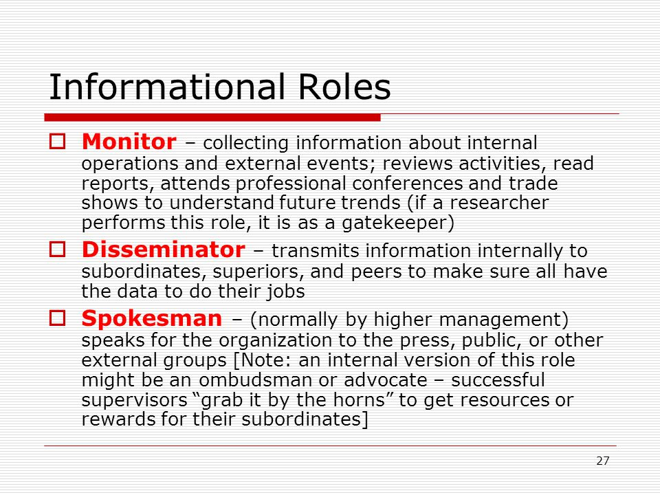 Informational Roles