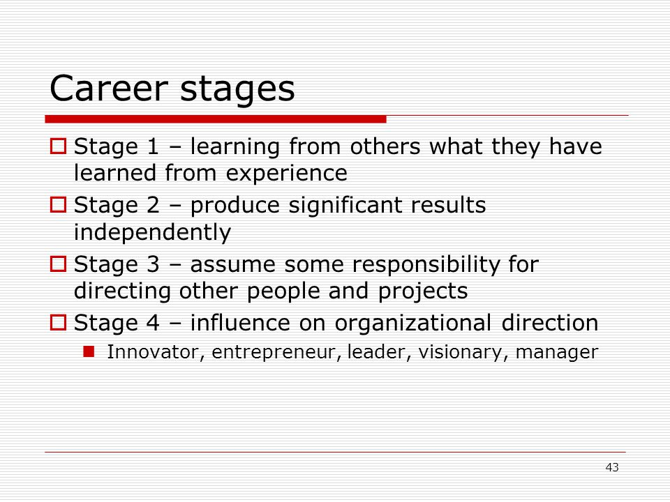 Career stages Stage 1 – learning from others what they have learned from experience. Stage 2 – produce significant results independently.