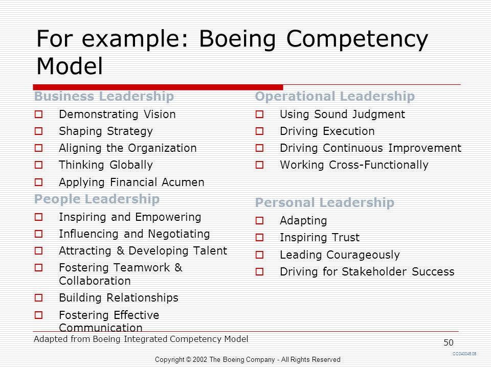 For example: Boeing Competency Model