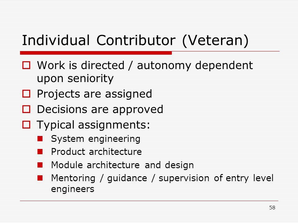Individual Contributor (Veteran)