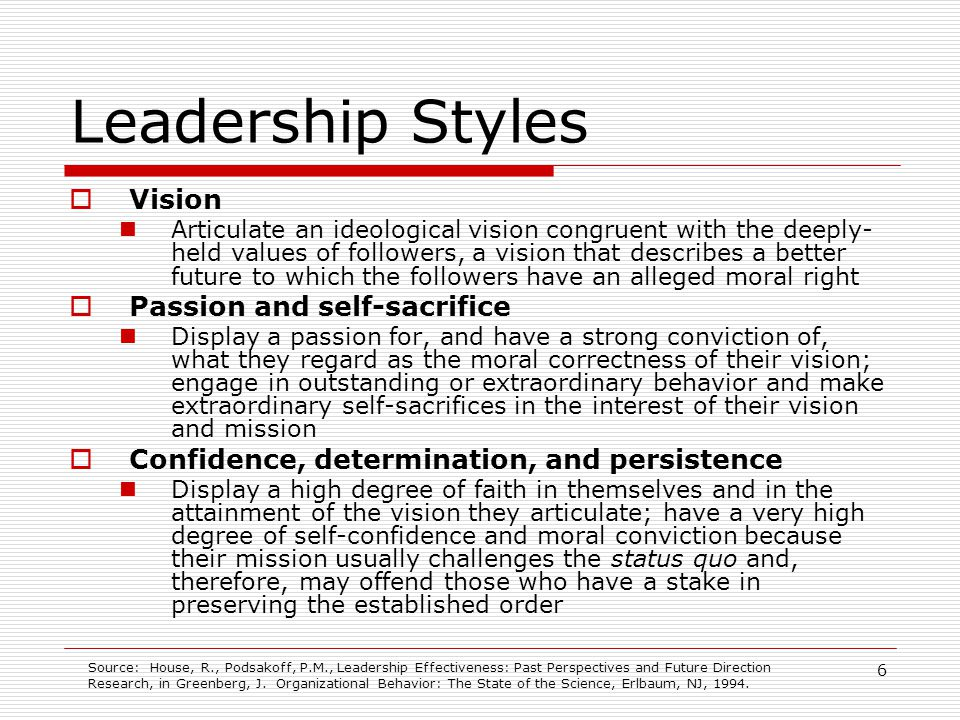 Leadership Styles Vision Passion and self-sacrifice