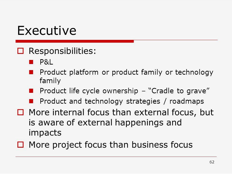 Executive Responsibilities: