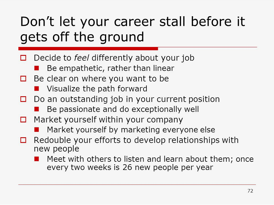 Don't let your career stall before it gets off the ground